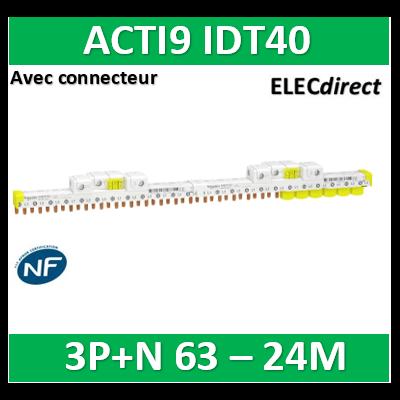 Schneider - Acti9 iDT40 - peigne avec connecteur - 3P+N - 24 modules de 18mm - 63A - A9XPP724