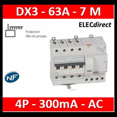 LEGRAND - Disjoncteur différentiel monobloc dx³ 6000 -vis- 4p- 400v~ -63a-AC-300ma-10ka-C-départ - 411211