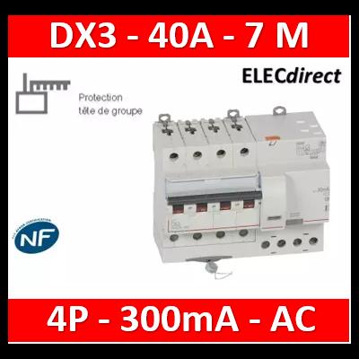 LEGRAND - Disjoncteur différentiel monobloc dx³ 6000 -vis- 4p- 400v~ -40a-AC-300ma-10ka-C-départ - 411220