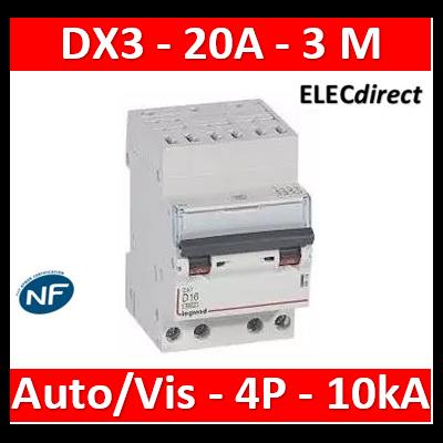 Legrand - Disjoncteur DX³ 6000 - auto/vis- 4P- 400V - 20A - courbeC-peigne HX³ opti 4P - 3M - 407915