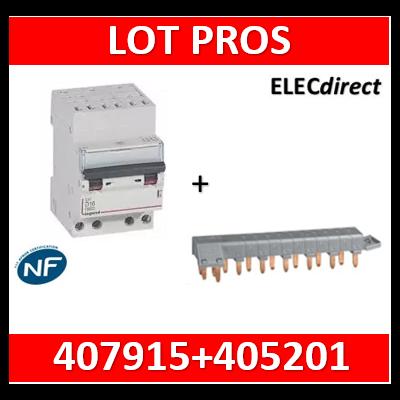 Legrand - Disjoncteur DX³ 6000 - auto/vis- 4P- 400V - 20A - courbeC + peigne HX³ opti 4P 12M - 407915+405201