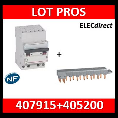 Legrand - Disjoncteur DX³ 6000 - auto/vis- 4P- 400V - 20A - courbeC + peigne HX³ opti 4P  - 407915+405200