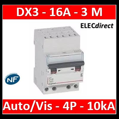 Legrand - Disjoncteur DX³ 6000 - auto/vis- 4P- 400V - 16A - courbeC-peigne HX³ opti 4P - 3M - 407914