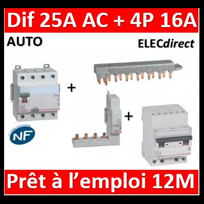 LEGRAND - dif. DX3-ID 4P 25A - 30mA - AC + Module 4P + Peigne 13M + Disj. 4P 16A - 411660+406301+405201+407914