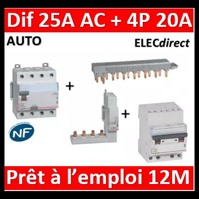 LEGRAND - dif. DX3-ID 4P 25A - 30mA - AC + Module 4P + Peigne 13M + Disj. 4P 20A - 411660+406301+405201+407915