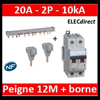Legrand - Disjoncteur bipolaire DX3 20A - 10kA - C + peigne 12M 2P + bornes - 407785+404938+404906x2