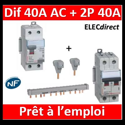 Legrand - Dif. 40A 30mA AC + 2P DX3 40A - 10kA - C + peigne 12M 2P - 407788+404938+404906x2+411505