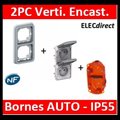 Legrand Plexo - Double PC 2P+T 16A 230V encast. - vertical - IP55/IK07 + Boîte Batibox - 069685+069563+080102