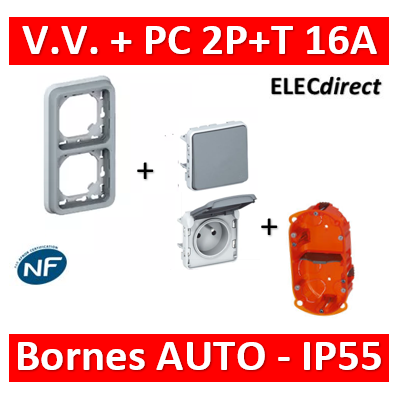 Legrand Plexo -VV + PC 2P+T 16A 230V encast. - vertical - IP55/IK07 + Boîte Batibox - 069685+069511+069551+080102