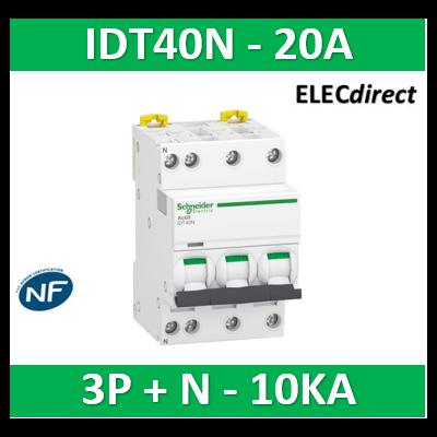 Schneider - Acti9 iDT40N - disjoncteur modulaire - 3P+N C 20A 6000A/10kA - A9P24720