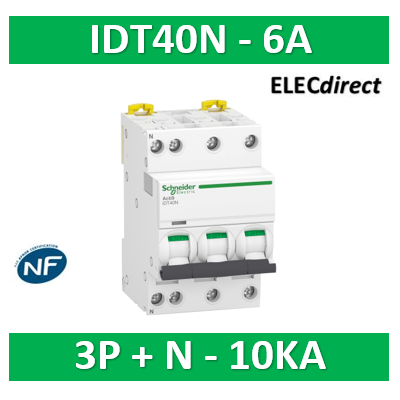 Schneider - Acti9 iDT40N - disjoncteur modulaire - 3P+N C 6A 6000A/10kA - A9P24706