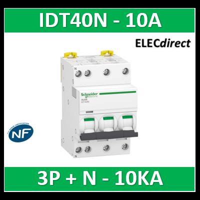 Schneider - Acti9 iDT40N - disjoncteur modulaire - 3P+N C 10A 6000A/10kA - A9P24710