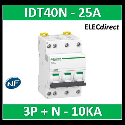 Schneider - Acti9 iDT40N - disjoncteur modulaire - 3P+N C 25A 6000A/10kA - A9P24725