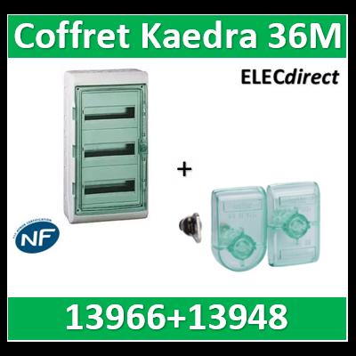 Schneider Kaedra - coffret Etanche - 340 x 610 mm - 36 modules - 3x12 + serrure à clé  - 13966+13948