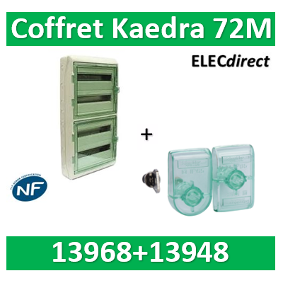 Schneider Kaedra - coffret pour appareillage modulaire - 448 x 842 mm - 72 modules + serrure à clé - 13968+13948