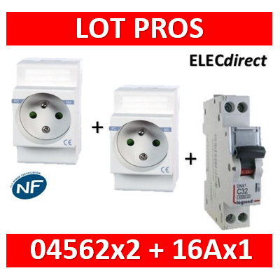 2 PC modulaire 2P+T 16A DIGITAL + disjoncteur 16A - 04562x2 + 406774