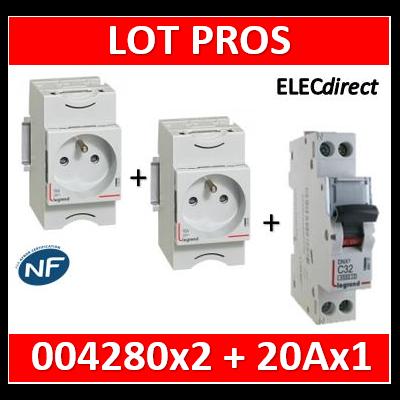 Legrand - LOT PROS - PC 2P+T 20A 220V Modulaire x 2 + disjoncteur 20A - 004280x2 + 406775
