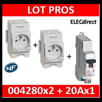 Legrand - LOT PROS - PC 2P+T 20A 220V Modulaire x 2 + disjoncteur 20A AUTO - 004280x2 + 406784