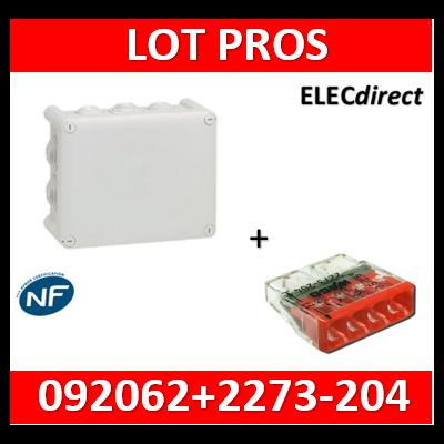 Boîte de dérivation étanche IP55 - 220x170x86 + borne WAGO 4 trous x100 - 092062+2273-204