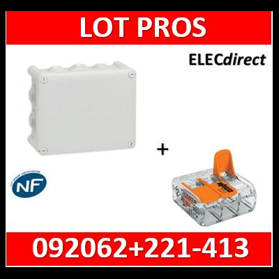 Boîte de dérivation étanche IP55 - 220x170x86 + borne WAGO 3 trous x100 - 092062+221-413