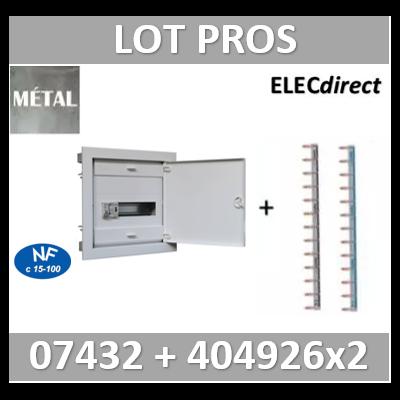 Digital electric - Coffret encastré vide - IP40 porte métal extra plate - 1R - 12 mod + peigne 12M - 07432+404926