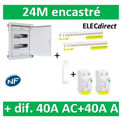 Digital electric + Schneider  - coffret 24M encastré + dif. 40A AC + dif. 40A A Schneider VIS + peignes