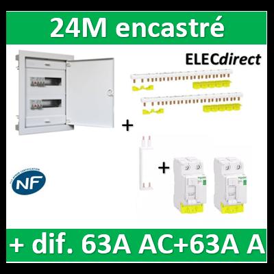 Digital electric + Schneider - coffret 24M encastré + dif. 63A AC + dif. 63A A Schneider VIS + peignes
