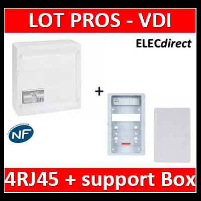Legrand - Coffret VDI GRADE 2 - 4 RJ45 + support BOX Casanova + porte - 413248+ZA375C+PCST375