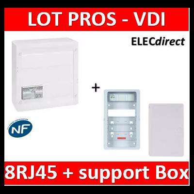 Legrand - Coffret VDI GRADE 2 - 8 RJ45 + support BOX Casanova + porte - 413248+413083x4+ZA375C+PCST250