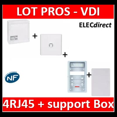 Legrand - Coffret VDI GRADE 2 - 4 RJ45 + Porte + Support Box Casanova + porte - 413248+401331+ZA375C+PCST375