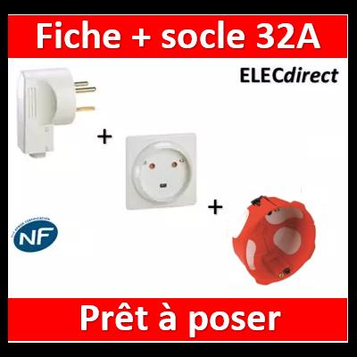 Legrand - Socle 32A - Plast - 2P+T - à VIS - éclips + Fiche 2P+T 32A + boîte SIB - 055812+055802+38640