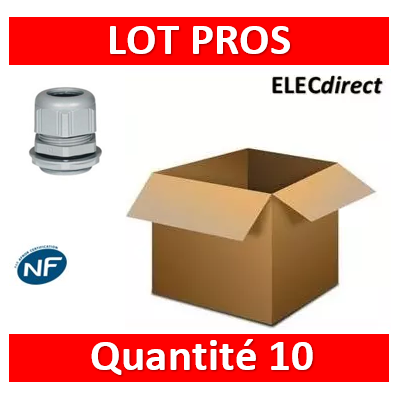 Legrand - Presse-étoupe plastique - IP68 - ISO 32 - RAL 7001 - 098006x10