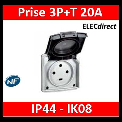 Legrand Plexo - Socle à encastrer - prise étanche Plexo 20 A - 3P+T - IP44-IK08 - gris- 055706