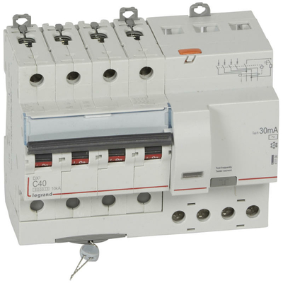 Legrand Disjoncteur différentiel monobloc DX³6000 10kA arrivée haute et départ bas à vis 4P 400V~ - 40A - typeAC 30mA 411190
