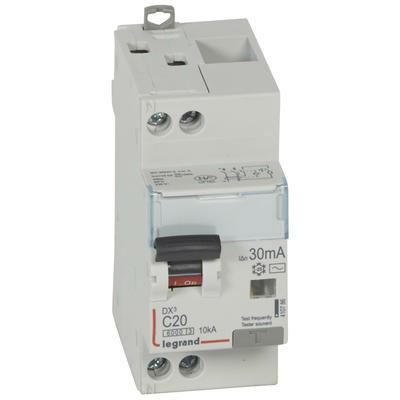 Legrand Disjoncteur différentiel monobloc DX³6000 10kA arrivée haute et départ bas à vis U+N 230V~ - 20A - typeAC 30mA 410786