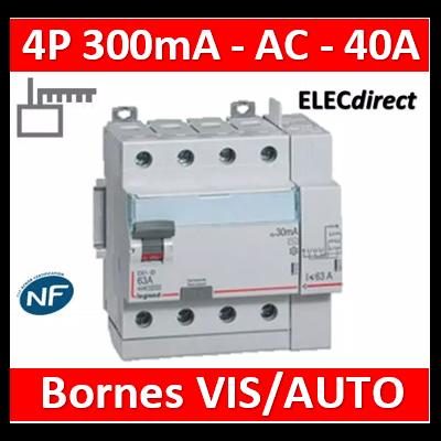 LEGRAND - Interrupteur différentiel DX3-ID 4P 40A - 300mA - AC - Départ Haut - 5M - 411654
