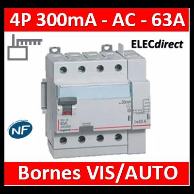 LEGRAND - Interrupteur différentiel DX3-ID 4P 63A - 300mA - AC - Départ Haut - 5M - 411655