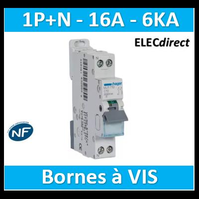 DISJONCTEUR HAGER - 1P+N - 16A - VIS/VIS - 6KA - MJT716