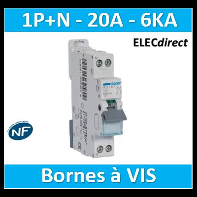 DISJONCTEUR HAGER - 1P+N - 20A - VIS/VIS - 6KA - MJT720