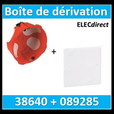 SIB - Boîte simple 1 poste P.40mm D86mm + couvercle 100x100 - 38640+089285
