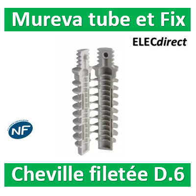 Schneider - Mureva FIX - Cheville filetée - percage 6mm - Gris par 200 - ENN48935
