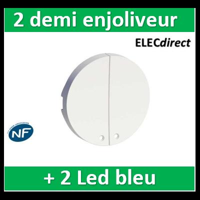 Schneider Odace - 2 demi enjoliveur Blanc livré avec 2 LED bleu 0,15 mA connexion par câble - S520298