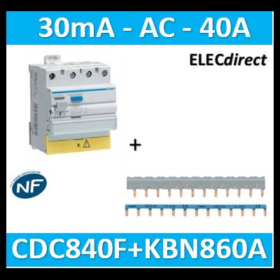 Hager - Interrupteur différentiel - 3P+N 40A - 30mA AC BD + peigne 3P+N - CDC840F+KBN863A