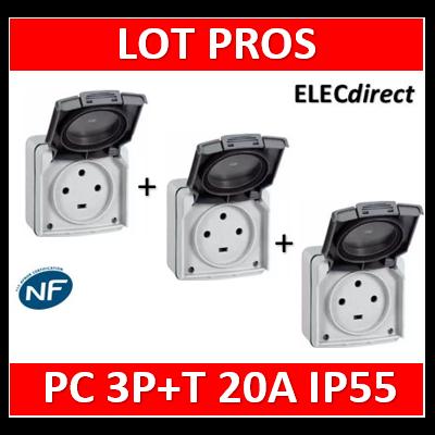 Legrand Plexo - Prise de courant 3P+T 20A - saillie - IP55/IK08 - 091656x3