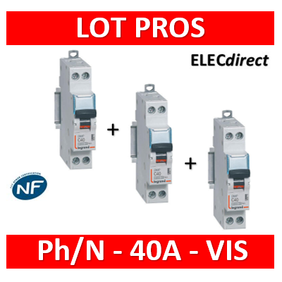 Legrand - Disjoncteur DNX³ 4500 - vis/vis - U+N 230V~ 40A - 6kA - courbe C - 1 module - 406873x3