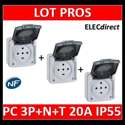 Legrand Plexo - Prise de courant 3P+N+T 20A - saillie - IP55/IK08 - 091657x3