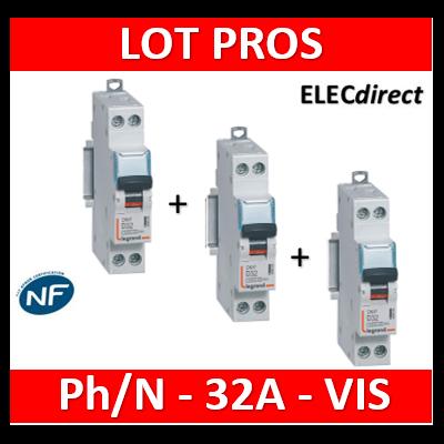 Legrand - Disjoncteur courbe D - DNX3 - 32A - Ph+N - 1M - 406805x3