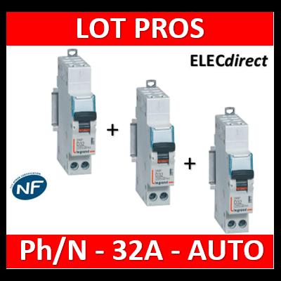 Legrand - Disjoncteur AUTO courbe D - DNX3 - 32A - Ph+N - 1M - 406812x3