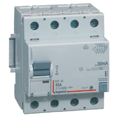 Legrand - Interrupteur différentiel DX³-ID arrivée haute et départ bas à vis - 4P 400V~ 40A typeB 30mA - 4 modules - 411846