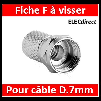 Legrand - Fiche TV - ''F'' mâle à visser - pour câble coaxial Ø7 mm - 073990